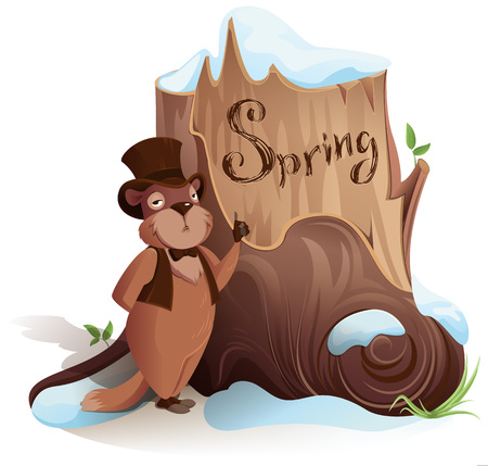 Groundhog Day. Marmot announces early arrival of spring. Isolated on white vector cartoon illustration