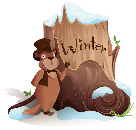 Groundhog Day. Marmot announces early arrival of winter. Isolated on white vector cartoon illustration Illustration
