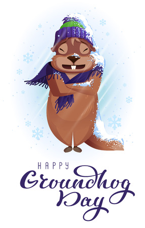 Groundhog Day weather forecast. Woodchuck was very cold and wrapped in scarf. Vector cartoon illustration