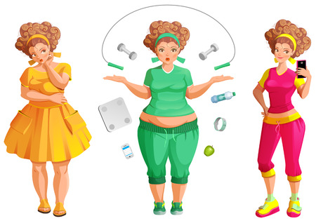 Fat woman weignt loss. Fitness and diet is path to health and beauty. Isolated on white set vector cartoon illustration