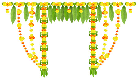 Garland for door of mango leaves and marigold flowers. Ugadi or gudi padwa indian lunar new year. Isolated on white vector decor illustration Illustration