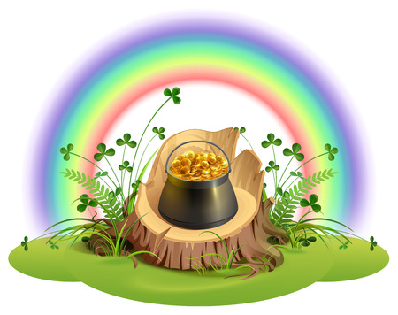 St. Patrick Day. Pot of gold coins on stump under rainbow. Isolated on white vector cartoon illustration Ilustração