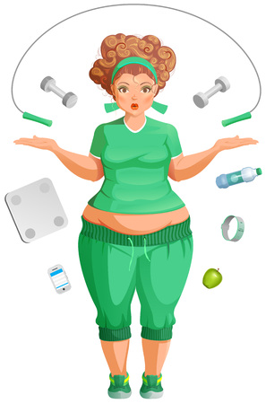 Fat woman is going to lose weight. Fitness life accessories. Isolated on white vector cartoon illustration Ilustração