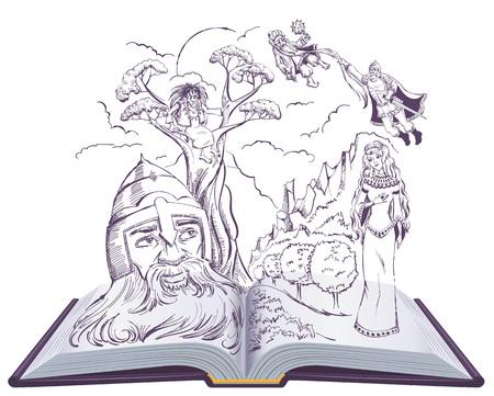 Poema de Ruslan y Ludmila de Alexander Pushkin. Ilustración de libro abierto cuento de hadas ruso. Vector aislado en blanco
