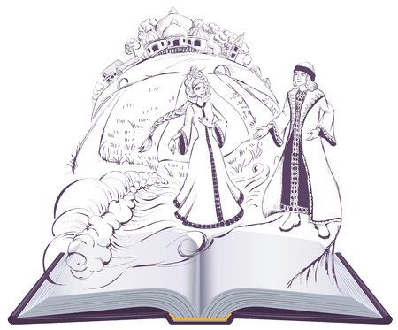 Tale of Tsar Saltan Swan princess pushkin fairy tale. Isolated on white open book illustration