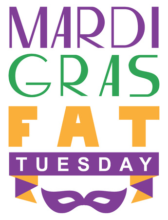 Mardi gras fat tuesday lettering text greeting card. Isolated on white vector illustration Ilustração