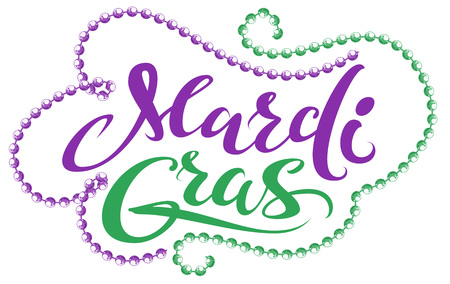 Mardi Gras handwriting text for greeting card festival fat tuesday. Isolated on white vector illustration