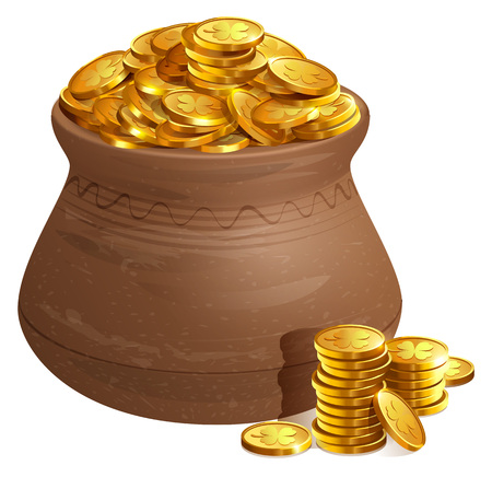 Full ceramic pot with gold coins. Old treasure with gold. Isolated on white vector cartoon illustration