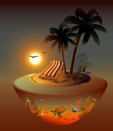 Summer holidays on night tropical island under palm trees. Vector cartoon illustration Ilustração