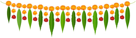 Indiase traditionele mala garland mango bladeren en oranje bloemen. Geïsoleerd op witte vector cartoon afbeelding Vector Illustratie
