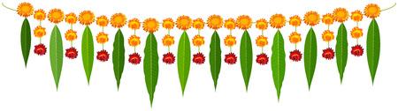 Indische traditionelle Mala Girlande Mangoblätter und Orangenblüten. Isoliert auf weißem Vektor-Cartoon-Illustration Vektorgrafik