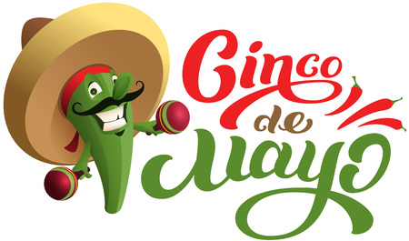Mexican cactus in sombrero hat holding maracas. Cinco de mayo text holiday greeting card. Isolated on white vector cartoon illustration
