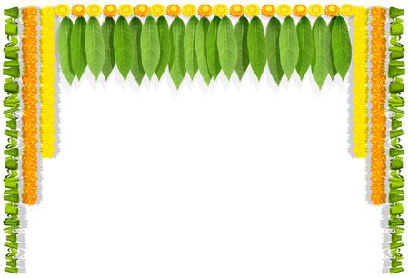 Ghirlanda di fiori indiani Ugadi felice con foglie di mango. Isolato su bianco illustrazione vettoriale Vettoriali