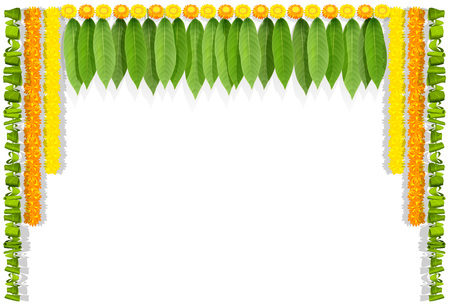 Happy Ugadi indian flower garland with mango leaves. Isolated on white vector illustration Иллюстрация