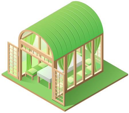 Green arbor garden house isometric icon isolated white. 3d vector illustration