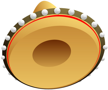 Sombrero mexican straw hat for cinco de mayo holiday. Isolated on white vector cartoon illustration