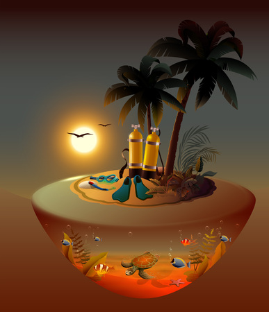 Night diving on tropical island. Diving equipment and marine life. Vector cartoon illustration Ilustração