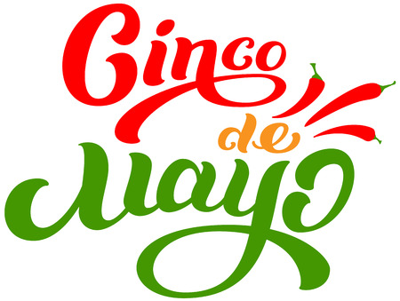 Cinco de Mayo mexican holiday lettering text greeting card. Isolated on white vector cartoon illustration