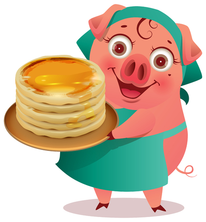 Female Pig cook keep stack of pancakes shrovetide carnival symbol. Isolated on white vector cartoon illustration