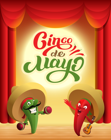 Mexican cactus and red chili pepper perform on stage. Cinco de mayo text holiday greeting card. Vector cartoon illustration