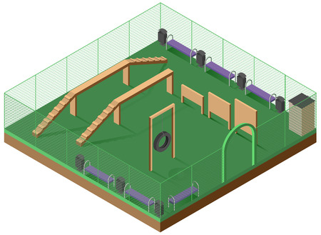 Platform for walking and dog training 3d isometric icon. Playground for dogs. Vector illustration