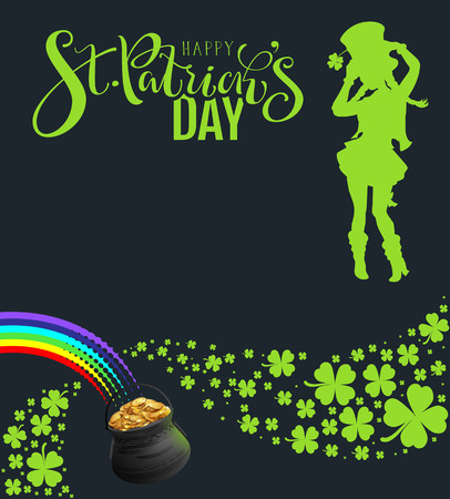 St Patricks Day Party template banner. Green silhouette of dancing woman on black background. Vector type illustration Standard-Bild - 124771513