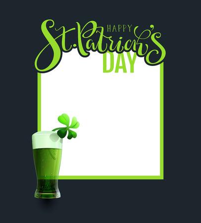 Green ale beer traditional irish saint patricks day drink cocktail. Template frame greeting card poster illustration Illustration