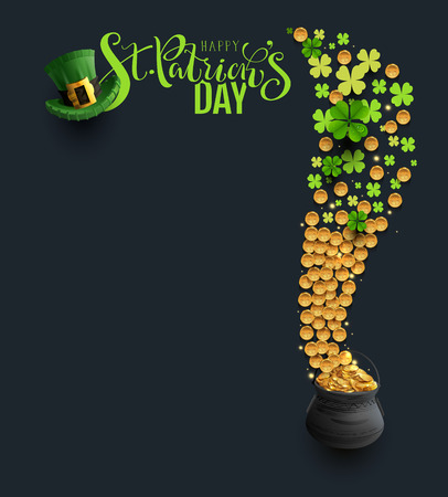St Patricks Day type, green hat and clover coins. Vector cartoon illustration frame greeting card