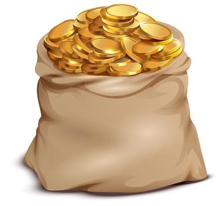 Gold coins on open full bag isolated on white. Vector cartoon illustration