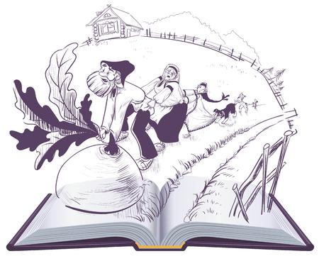Russian tale of turnip open book cartoon illustration. Vector isolated on white