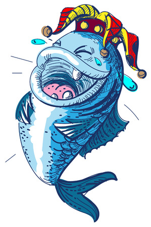 Fish laugh April 1 fools day. Clown crown king of fools. Isolated vector illustration Ilustracja