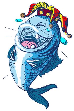 I pesci ridono il giorno degli sciocchi del 1 aprile. Clown corona re degli sciocchi. Illustrazione vettoriale isolato