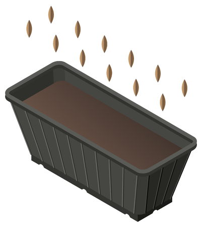 Planting seed in box with ground for seedlings. Isometric icon. Vector illustration 3d isolated
