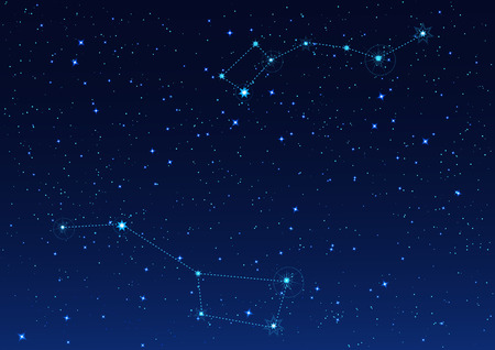 Big and Small Dipper constellation. Polar Star. Night starry sky. Vector illustration Vettoriali