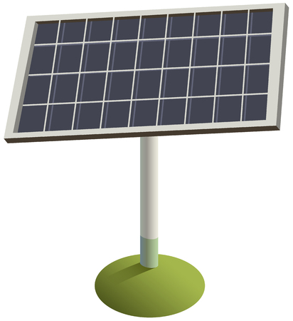 Solar panel on grass. Green renewable environmentally friendly electricity. Vector isolated on white