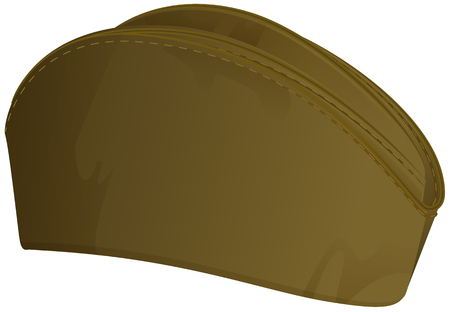 Russian summer military cap. Soldier retro hat isolated on white. Vector illustration Çizim