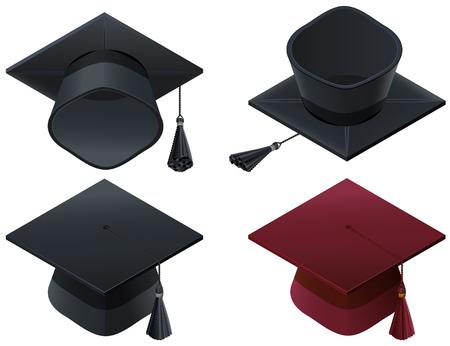 Set hat mortarboard symbol high school graduation. Vector illustration