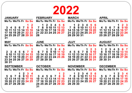 Office pocket calendar 2022 year template horizontal orientation. Vector illustration