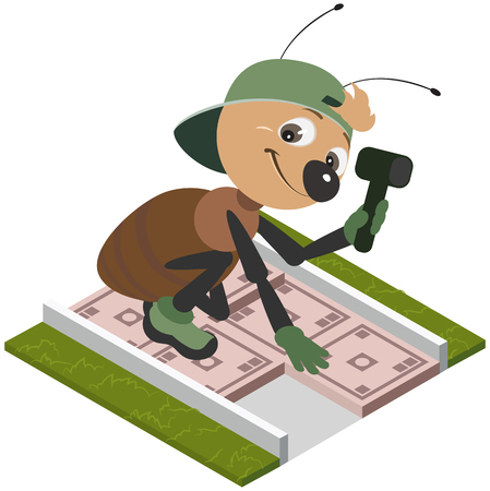 Ant worker laying pavement tiles. Vector cartoon illustration isolated on white Illustration