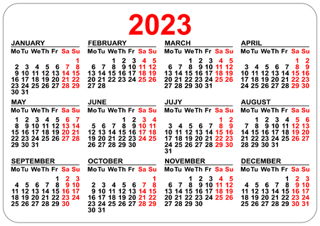 2023 Calendar template isolated on white. Simple horizontal grid.
