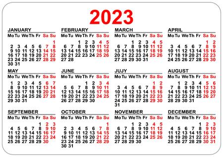 Modello di calendario 2023 isolato su bianco. Griglia orizzontale semplice.