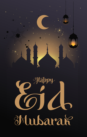 Happy Eid Mubarak type calligraphy text greeting card. Silhouette dome of mosque and moon against night sky. Vector illustration
