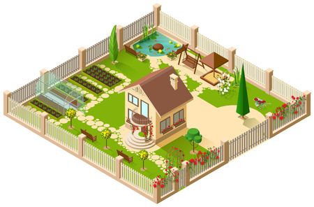 Private country house and garden. 3d isometric illustration. Vector isolated