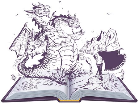 Dragon and funny hero open book illustration. Russian three headed snake gorynych and knight. Vector cartoon isolated on white