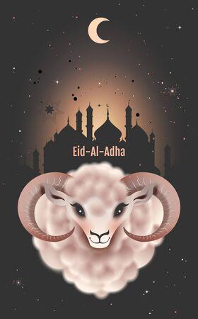 Eid al Adha greeting card for Feast of Sacrifice. Ram head on background of mosque. Vector illustration