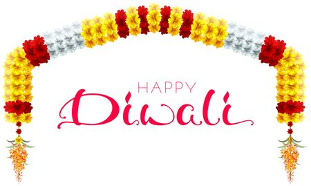 Traditional indian mala flower garland. Festive holiday happy diwali arch flower decoration. Vector cartoon illustration isolated on white