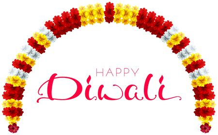 Diwali festival of lights garland flower and calligraphy text greeting card. Indian vector cartoon illustration