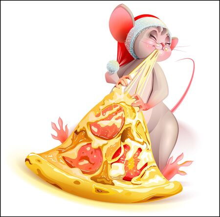 Santa mouse character 2020 year eating pizza with cheese. Vector cartoon isolated on white Ilustração