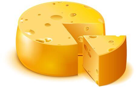 Hard porous cheese big head and sliced piece isolated on white. Vector cartoon illustration Ilustração