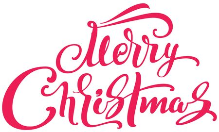 Merry Christmas handwritten calligraphy text lettering template type greeting card. Isolated on white vector illustration Ilustração